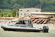 Royal Canadian Mounted Police harbour patrol boat.  Squamish BC, Canada