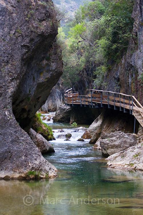 Boardwalk above a river in the 'Cerrado de Elias', Cazorla National Park, Jaen Province, Andalucia, Spain
