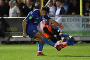 AFC Wimbledon defender Will Nightingale (5) clearing the ball during the EFL Carabao Cup 2nd round match between AFC Wimbledon and West Ham United at the Cherry Red Records Stadium, Kingston, England on 28 August 2018.