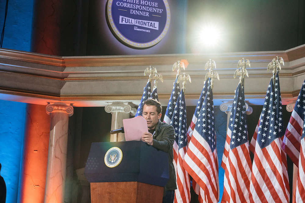 Jason Jones does an impression of George W Bush during rehearsals for Full Frontal with Samantha Bee's Not the White House Correspondents' Dinner at D.A.R. Constitution Hall in Washington D.C. on April 28, 2017.
