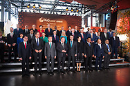 20.10.2018. Copenhagen, Denmark.  <br /> Minister for Foreign Affairs, Japan HE Taro Kono, Prime Minister of the Netherlands HE Mark Rutte, President of South Korea HE Moon Jae-in, Prime Minister of Denmark HE Lars Lokke Rasmussen, Crown Prince Frederik of Denmark, Crown Princess Mary of Denmark, President of Ethiopia HE Mulatu Teshome, Prime Minister of the Socialist Republic of Vietnam HE Nguyen Xuan Phúc, Minister of Foreign Affairs, Bangladesh HE Abul Hassan Mahmood Ali (from L to R) pose for a family picture during the P4G Copenhagen Summit 2018 at The Danish Radio Concert Hall.<br /> Photo: © Ricardo Ramirez