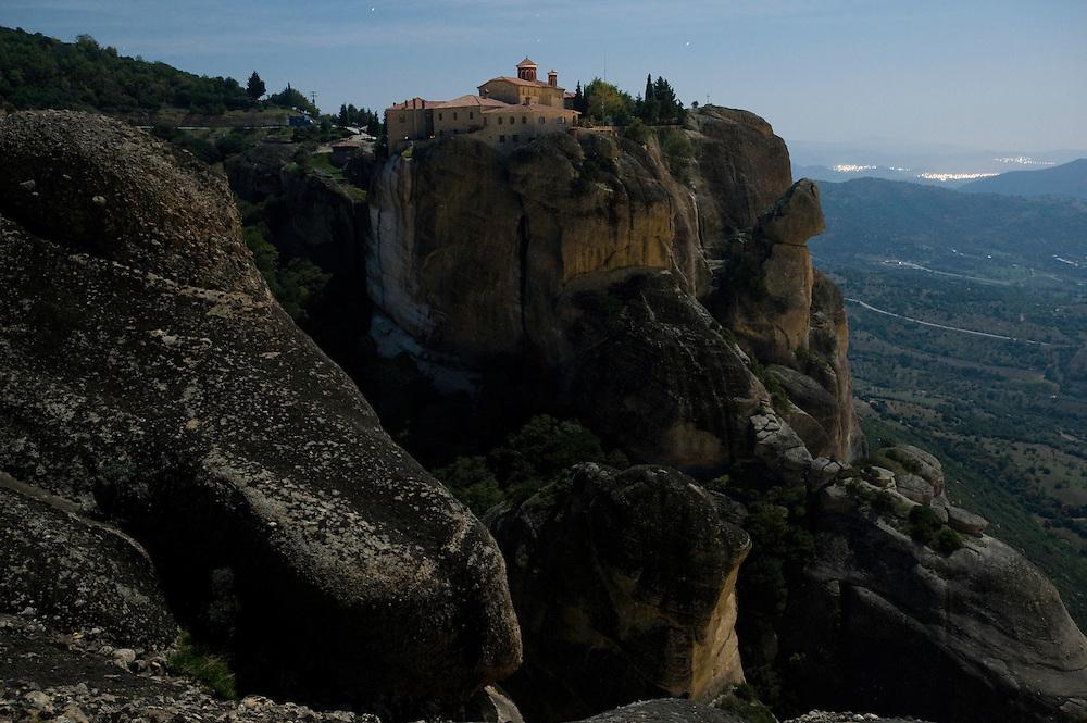 Greece, Meteora, Agios Stephanos (St. Stephen) Monastery in Moonlight