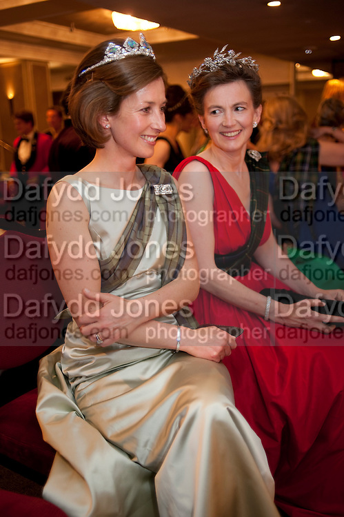 LADY LOUISE BURRELL; LADY EMMA MAHMOOD, The Royal Caledonian Ball 2011. In aid of the Royal Caledonian Ball Trust. Grosvenor House. London. W1. 13 May 2011.<br /> <br />  , -DO NOT ARCHIVE-© Copyright Photograph by Dafydd Jones. 248 Clapham Rd. London SW9 0PZ. Tel 0207 820 0771. www.dafjones.com.