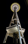 "The Space Needle (605 feet tall), at Seattle Center, Washington, USA. The Space Needle annually hosts more than 1 million visitors, making it the number one tourist attraction in the Pacific Northwest. When the Space Needle was built in 1962 for the World's Fair, it was the tallest building west of the Mississippi River. The entire Space Needle saucer does not rotate, only a 14-foot ring next tthe windows rotates on the SkyCity restaurant level. The 100 foot, or SkyLine, level was built in 1982. The original name of the Space Needle was ""The Space Cage."" The original name of the restaurant was ""Eye of the Needle."""