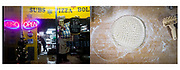 Left: Andy Bollin, of Hanover, is seen through the storefront of Pizza 2 U, Saturday, Jan. 20, 2018 in Littlestown, PA. Bollin has owned the small-town pizza store for five years, buying it after quitting his job working in a pizza shop to be his own boss. Right: Dough begins to be formed within the kitchen of the store, Saturday, Jan. 20, 2018.