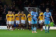 3rd November 2018, Fir Park, Motherwell, Scotland; Ladbrokes Premiership football, Motherwell versus Dundee; David Turnbull of Motherwell is congratulated after scoring for 1-0 in the 69th minute by Chris Cadden