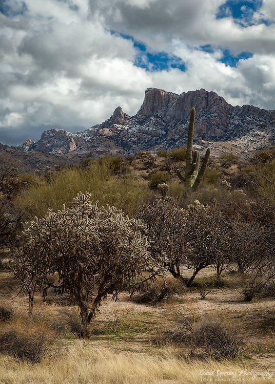 A fine dusting of snow covers the peaks of Pusch Ridge as a winter storm begins to clear.
