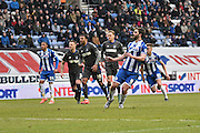 Wigan Athletic Forward, Will Grigg slots home his second from the penalty spot during the Sky Bet League 1 match between Wigan Athletic and Bury at the DW Stadium, Wigan, England on 27 February 2016. Photo by Mark Pollitt.