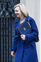 Downing Street, London, January 17th 2017. Justice Secretary and Lord Chancellor Liz Truss leaves 10 Downing Street following the weekly cabinet meeting, ahead of Prime Minister Theresa May's key Brexit speech.