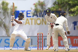 July 29, 2017 - Galle, Sri Lanka - Sri Lankan cricketer Dimuth Karunaratne plays a shot during the 4th Day's play in the 1st Test match between Sri Lanka and India at the Galle cricket stadium, Galle, Sri Lanka on Saturday 29 July 2017. (Credit Image: © Tharaka Basnayaka/NurPhoto via ZUMA Press)