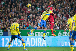 15.11.2013, Estadio da Luz, Lissabon, POR, FIFA WM Qualifikation, Portugal vs Schweden, Play Off, im Bild Sverige 13 Mikael Antonsson, Sverige 19 Alexander Kacaniklic Kacaniklic, Portugal 23 Halder Postiga // during the FIFA World Cup Qualifier play Off Match between Portugal and Sweden at the Estadio da Luz in Lissabon, Portugal on 2013/11/15. EXPA Pictures © 2013, PhotoCredit: EXPA/ Pic Agency/ Sami Grahn<br /> <br /> *****ATTENTION - OUT of SWE*****
