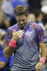 September 6, 2017 - New York City, New York, United States - Juan Martin del Potro of Argentina celebrates after defeating Roger Federer of Switzerland in their Men's Singles Quarterfinal match on Day Ten of the 2017 US Open at the USTA Billie Jean King National Tennis Center on September 6, 2017 in the Flushing neighborhood of the Queens borough of New York City. (Credit Image: © Foto Olimpik/NurPhoto via ZUMA Press)