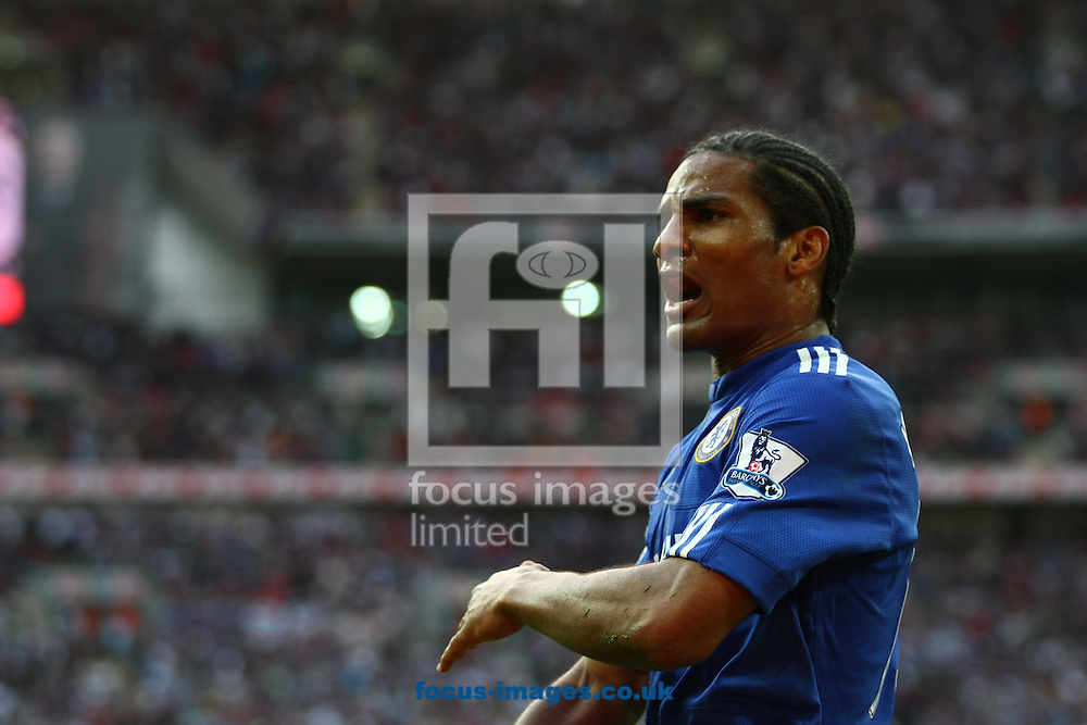 London - Saturday April 10, 2010: Florent Malouda (15) of Chelsea celebrates scoring Chelsea's 2nd goal during the FA Cup semi final match between Aston Villa and Chelsea at Wembley Stadium, London. (Pic by Andrew Tobin/Focus Images)