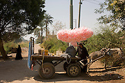 A seller of candy floss awaits custom on a rural track near the village of Qum (Koom), on the West Bank of Luxor, Nile Valley, Egypt.
