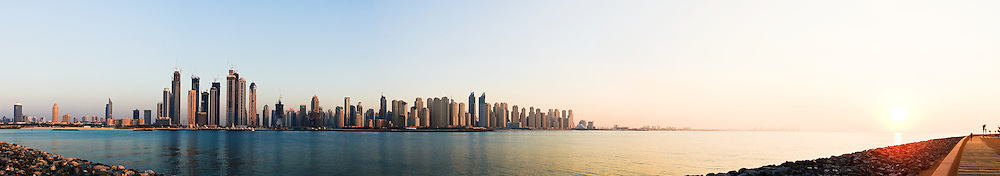 Panorama of Dubai Marina skyline from Palm Jumeirah
