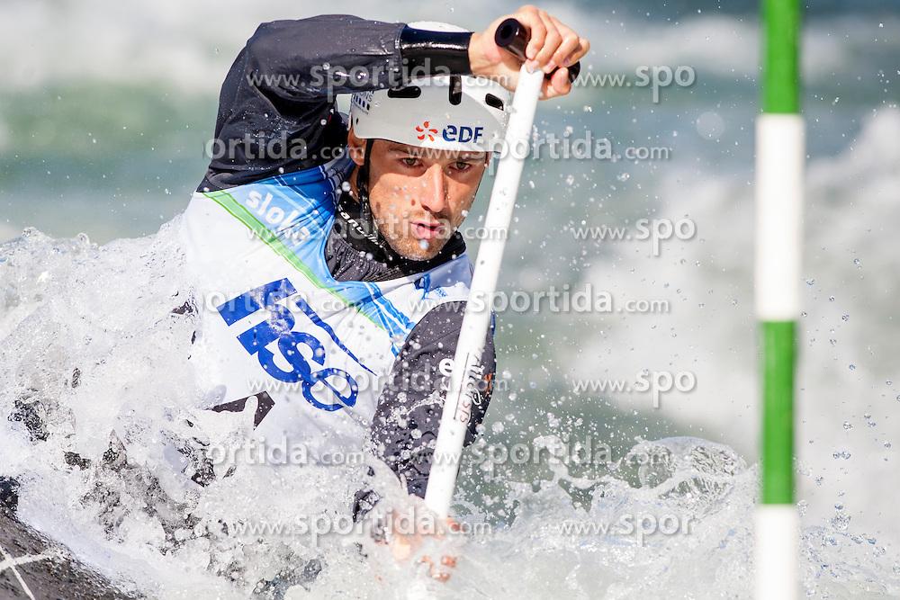 Denis Gargaud Chanut of France during Canoe(C1) Man semi-final race at ICF Canoe Slalom World Cup Sloka 2013, on August 17, 2013, in Tacen, Ljubljana, Slovenia. (Photo by Urban Urbanc / Sportida.com)