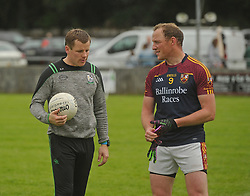 Ballinrobe&rsquo;s David Killeen talking to The Neale&rsquo;s manager Eoin Hughes after the Intermediate clash on sunday last.<br /> Pic Conor McKeown