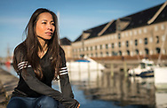 A female athlete from Adidas Runners in Copenhagen is pictured