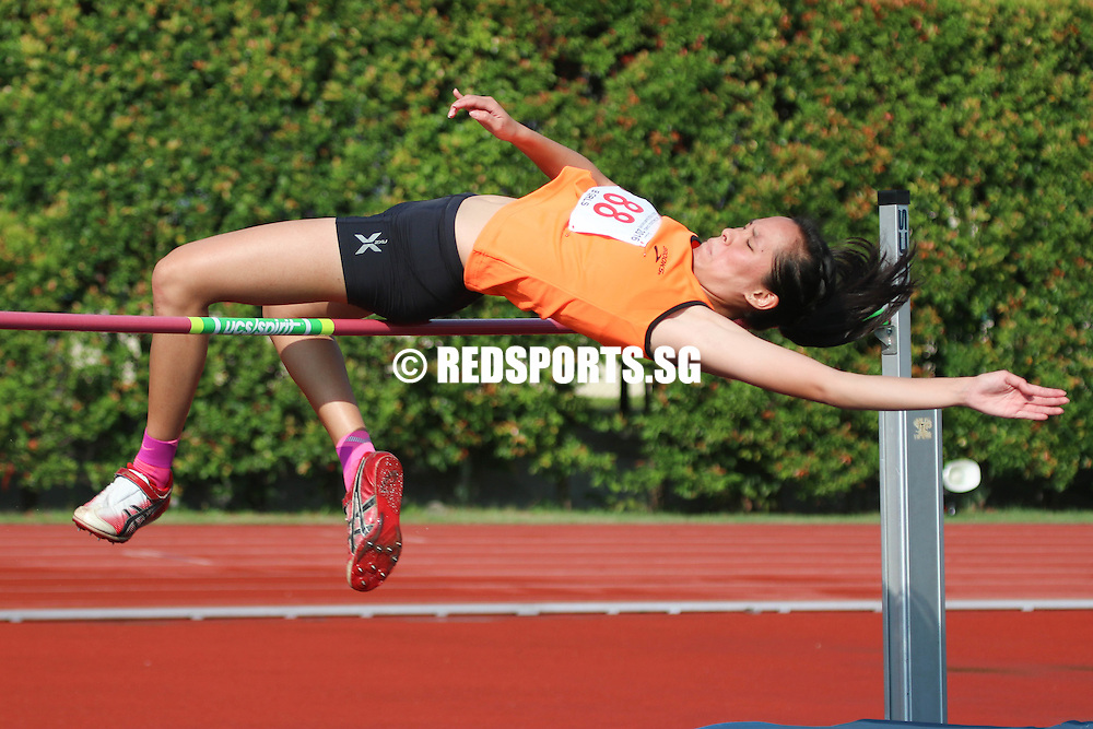 Bishan Stadium, Monday, April 25, 2016 &mdash; Jezebel Koh of Singapore Sports School (SSP) clinched the B Division Girls' high jump gold at the 57th National Schools Track and Field Championships, clearing a height of 1.52 metres.<br />