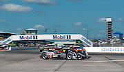 The No. 2 Audi, the eventual winner of the 2012 12 Hours of Sebring, sweeps through the first turn.