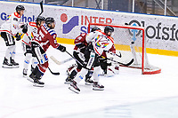 2019-12-01 | Umeå, Sweden:So close that Kiruna (14) Andreas Kero scores 1-3 in  HockeyEttan during the game  between Teg and Kiruna at A3 Arena ( Photo by: Michael Lundström | Swe Press Photo )<br /> <br /> Keywords: Umeå, Hockey, HockeyEttan, A3 Arena, Teg, Kiruna, mltk19120