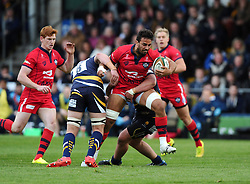 Worcester Prop Prop Nick Schonert tackles Bristol Rugby Flanker Marco Mama  - Photo mandatory by-line: Joe Meredith/JMP - Mobile: 07966 386802 - 27/05/2015 - SPORT - Rugby - Worcester - Sixways Stadium - Worcester Warriors v Bristol Rugby - Greene King IPA Championship