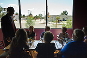 13 OCTOBER 2010 - TUCSON, AZ: Terry Goddard talks to a table of women while campaigning at Feast in Tucson. Goddard spent the day in Tucson campaigning. Goddard lost the election to sitting Governor Jan Brewer, a conservative Republican.     PHOTO BY JACK KURTZ