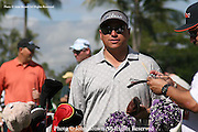 America's Robert Gamez stands on the practice green prior to The 2005 Sony Open In Hawaii. The event was held at The Waialae Country Club in Honolulu.