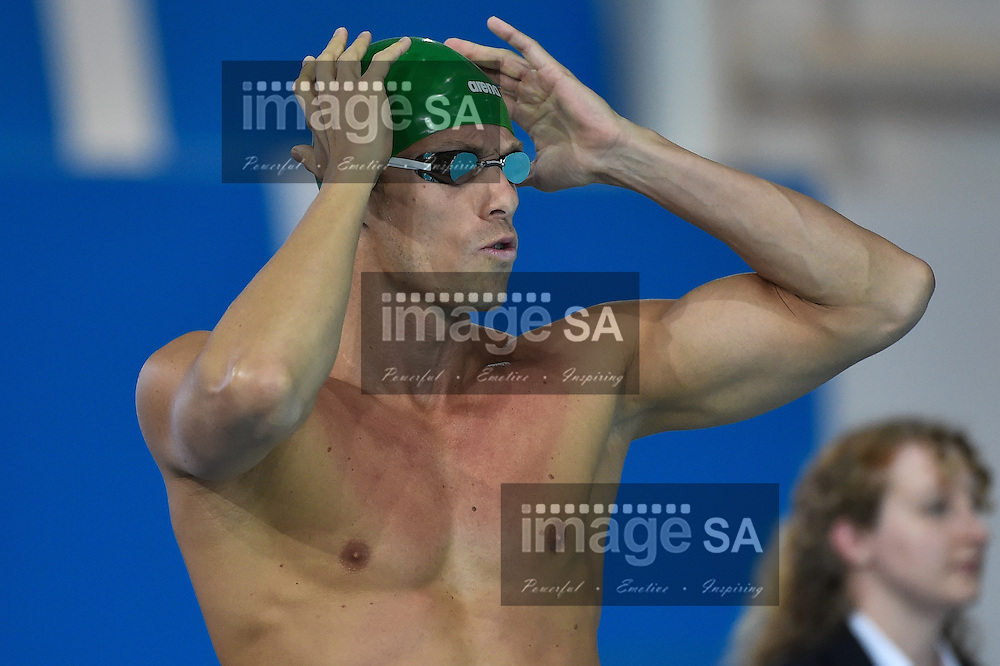 GLASGOW, SCOTLAND - JULY 25:  Roland Schoeman of South Africa in the mens 4x100 Freestyle during the swimming on day 2 of the 20th Commonwealth Games at Tollcross Swimming Centre on July 25, 2014 in Glasgow, Scotland. (Photo by Roger Sedres/ImageSA)