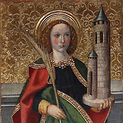 St Barbara holding a palm frond and a 3-windowed tower, on the lower section of the Altarpiece of the Transfiguration of Christ, late 15th century, by Jaume Huguet, 1412-92, in the Cathedral of St Mary, designed by Benito Dalguayre in Catalan Gothic style and begun 1347 on the site of a Romanesque cathedral, consecrated 1447 and completed in 1757, Tortosa, Catalonia, Spain. The altarpiece was originally in the Transfiguration Chapel but is now in the Cathedral Museum. The cathedral has 3 naves with chapels between the buttresses and an ambulatory with radial chapels. Picture by Manuel Cohen