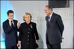 September 21, 2016 - Paris, France - Nicolas Sarkozy, Bernadette Chirac and Jacques Chirac..France's President Nicolas Sarkozy awarded Bernadette Chirac with the Legion d'honneur (Chevalier de la legion d'honneur) at Solenn house..Paris, FRANCE-18/03/2009 (Credit Image: © Visual via ZUMA Press)