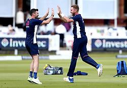 James Anderson of England and Stuart Broad of England celebrate during the warm up as they play football - Mandatory by-line: Robbie Stephenson/JMP - 08/07/2017 - CRICKET - Lords - London, United Kingdom - England v South Africa - Investec Test Series