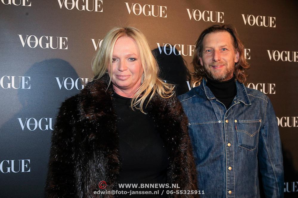 NLD/Amsterdam/20130314 - 1 jarig bestaan magazine Voque Nederland , Hoofdredacteur Voque Karin Swerink en partner ?..