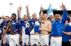 Bristol Rovers players celebrate promotion from Sky Bet League 2 up to Sky Bet League 1  - Mandatory by-line: Joe Meredith/JMP - 07/05/2016 - FOOTBALL - Memorial Stadium - Bristol, England - Bristol Rovers v Dagenham and Redbridge - Sky Bet League Two