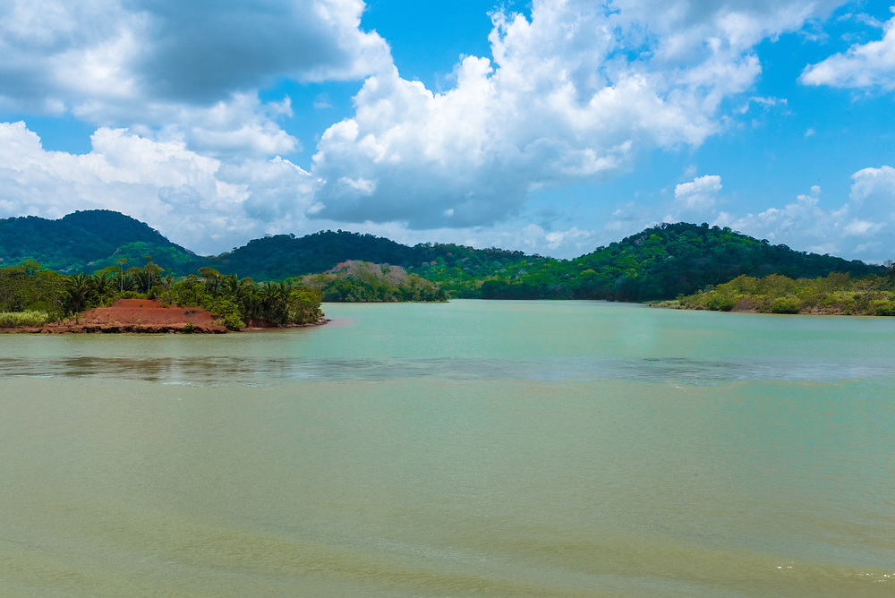 Gatun Lake, part of the Panama Canal complex. The waters of the lake empty into both the Atlantic and Pacific Oceans.