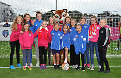 Players from Whitchurch Football Club with Vicky the Vixen at Stoke Gifford Stadium - Mandatory by-line: Paul Knight/JMP - 24/09/2016 - FOOTBALL - Stoke Gifford Stadium - Bristol, England - Bristol City Women v Durham Ladies - FA Women's Super League 2
