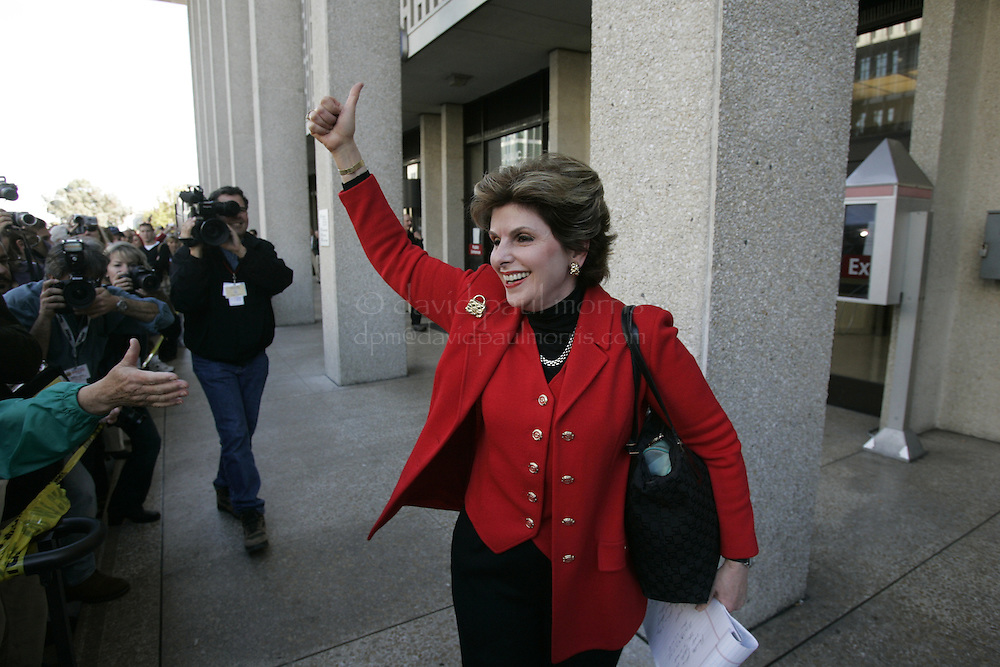 REDWOOD CITY, CA NOV 12: Attorney Gloria Allred reacts to the guilty verdict for Scott Peterson November 12, 2004 in Redwood City, California.  Peterson was convicted in the murder of his wife Laci Peterson and their unborn son, Conner. Photograph by David Paul Morris