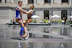 The area currently sees an uptick of circus activity as multiple arts organizations put on performing arts related shows and festivals in Philadelphia. The famed Canadian circus group, Cirque du Soleil promotes its upcoming show VOLTA as unicycle duo Philippe Belanger and Marie-Lee Guilbert perform on the street during a visit of some of the Philadelphia, PA landmarks, on June 5, 2018.