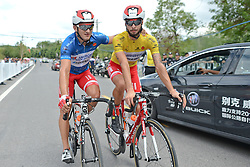 September 16, 2016 - Wuhan, China - (Left-Right) Marco Benfatto - Androni-Giocattoli team (Blue Best Sprinter Jersey), Mattia De Marchi - Mattia De Marchi - Androni Giocattoli (Yellow Leader Jersey) after Benfatto wins the final sixth stage, 99.6km Wuhan Xinzhou Circuit race, of the 2016 Tour of China 1..On Friday, 16 September 2016, in Xinzhou, Wuhan , China. (Credit Image: © Artur Widak/NurPhoto via ZUMA Press)