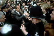 .Nixon shakes hands near Number Ten Downing Street in February of 1969...Photgraph by Dennis Brack BS B13