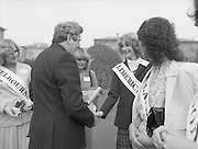 An Taoiseach Meets The Roses Of Tralee.  (N90)..1981..28.08.1981..08.28.1981..28th August 1981..An Taoiseach, Garret Fitzgerald, met with the contestants of The Rose Of Tralee Festival when they were invited to Government Buildings, Leinster House, Dublin.