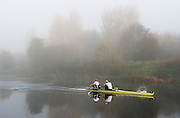 Boston, United Kingdom,  Reflections, Bow Alex GREGORY and Mo SBIHI, cut though the water as they approach the finish line to win the  GB Rowing Team October 5km Time Trial, on Sunday  01/11/2015  River Witham,  Lincolnshire <br /> <br /> [Mandatory Credit: Peter SPURRIER: Intersport Images]