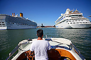 Arriving on taxi boat to the Maritime Station, where cruise ships are moored, Venice, Italy