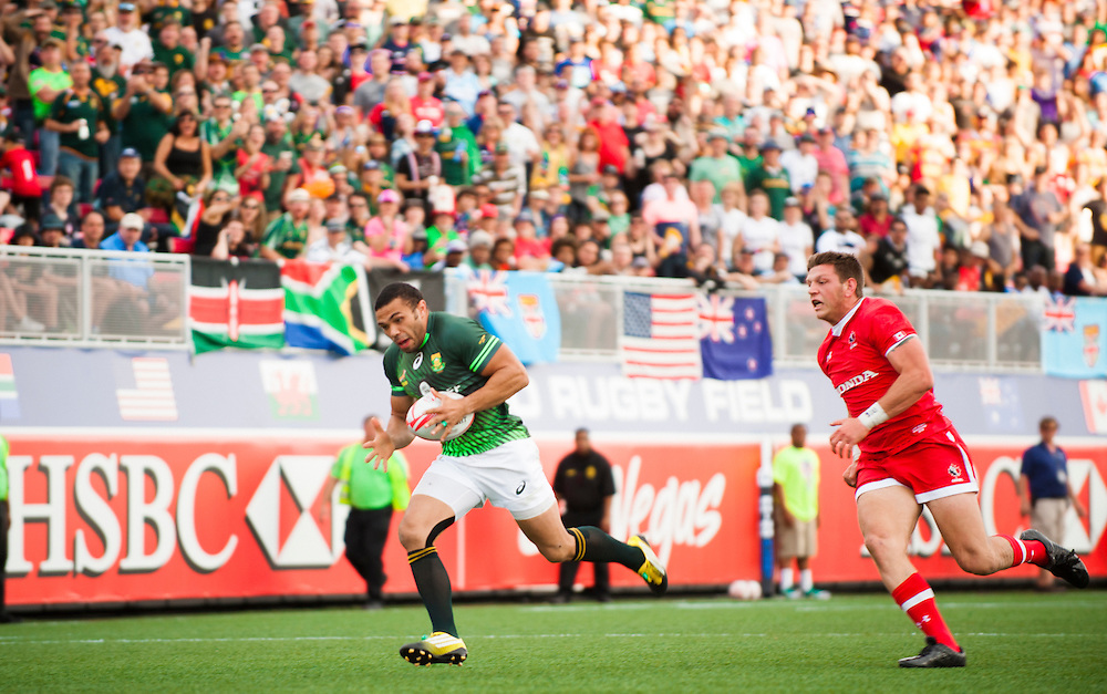 Bryan Habana of South Africa runs in a try against Canada during the pool stage of the 2016 USA Sevens leg of the HSBC Sevens World Series at Sam Boyd Stadium  Las Vegas, Nevada. March 4, 2016.<br /> <br /> Jack Megaw for USA Sevens.<br /> <br /> www.jackmegaw.com<br /> <br /> 610.764.3094<br /> jack@jackmegaw.com