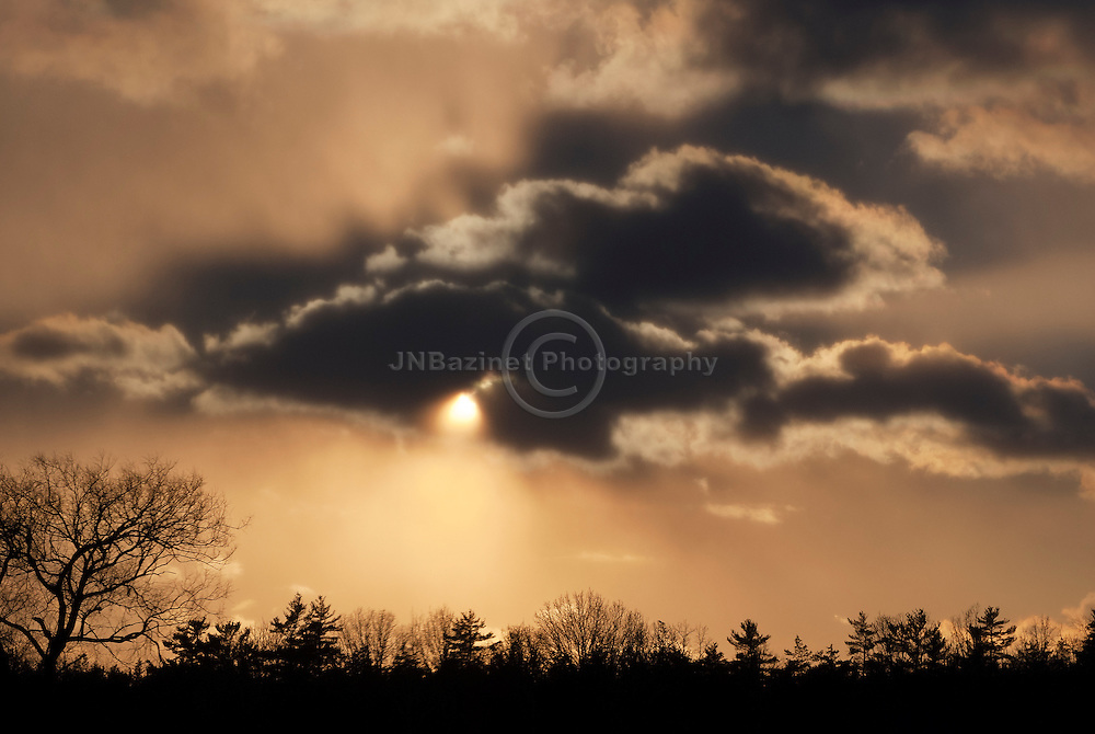 Setting sun behind cloud creates dramatic silhouette of tree line