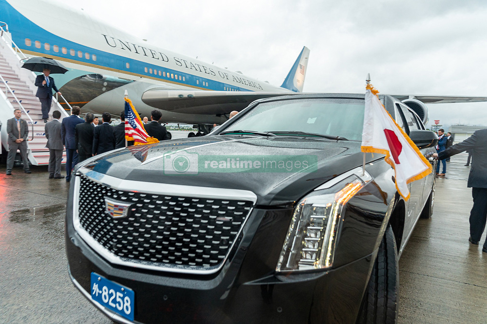 June 27, 2019 - Osaka, Japan - President DONALD J. TRUMP disembarks Air Force One, Thursday upon his arrival to Osaka International Airport to attend the G20 Summit. Trump is seeking to resolve an escalating trade fight with China and is expected to hold trade talks with the Chinese president Saturday morning.  (Credit Image: © Shealah Craighead/White House/ZUMA Wire)