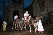 LORD HUGO AND CHARLES  MARQUESS OF GRANBY ARRIVING ON CAMELS, Alice Manners 18th   birthday. Belvoir Castle, Grantham. 12 April 2013.