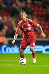 LIVERPOOL, ENGLAND - Thursday, September 16, 2010: Liverpool's Raul Meireles in action against FC Steaua Bucuresti during the opening UEFA Europa League Group K match at Anfield. (Photo by David Rawcliffe/Propaganda)