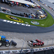 NASCAR crew drying the Dover track after the rain stoppage at Dover International Speedway in Dover Delaware.