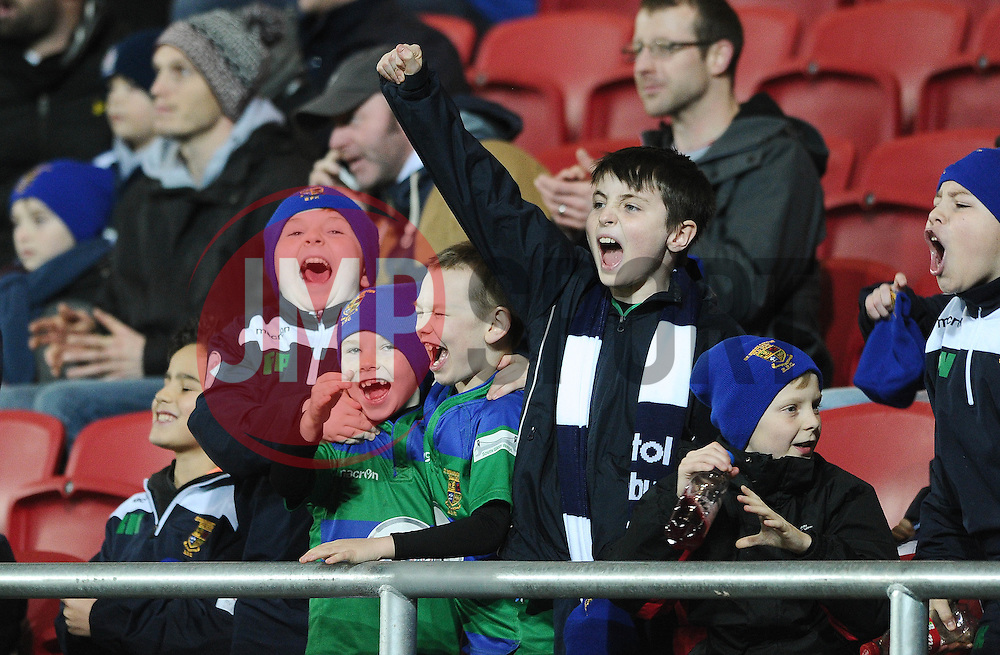 Young Bristol Rugby fans cheer as Bristol score a try - Mandatory byline: Dougie Allward/JMP - 22/01/2016 - RUGBY - Ashton Gate -Bristol,England - Bristol Rugby v Ulster Rugby - B&I Cup